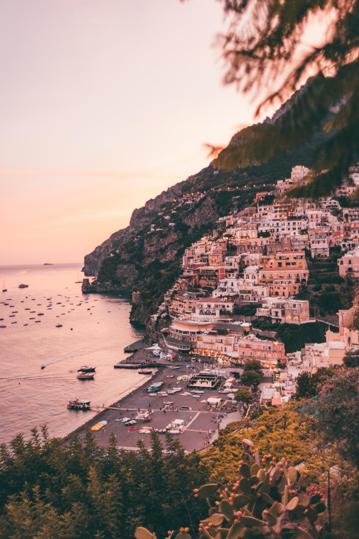 Positano zachód słońca, Positano sunset, positano view, Amalfi Coast, Wybrzeże Amalfitańskie, Italy, Włochy