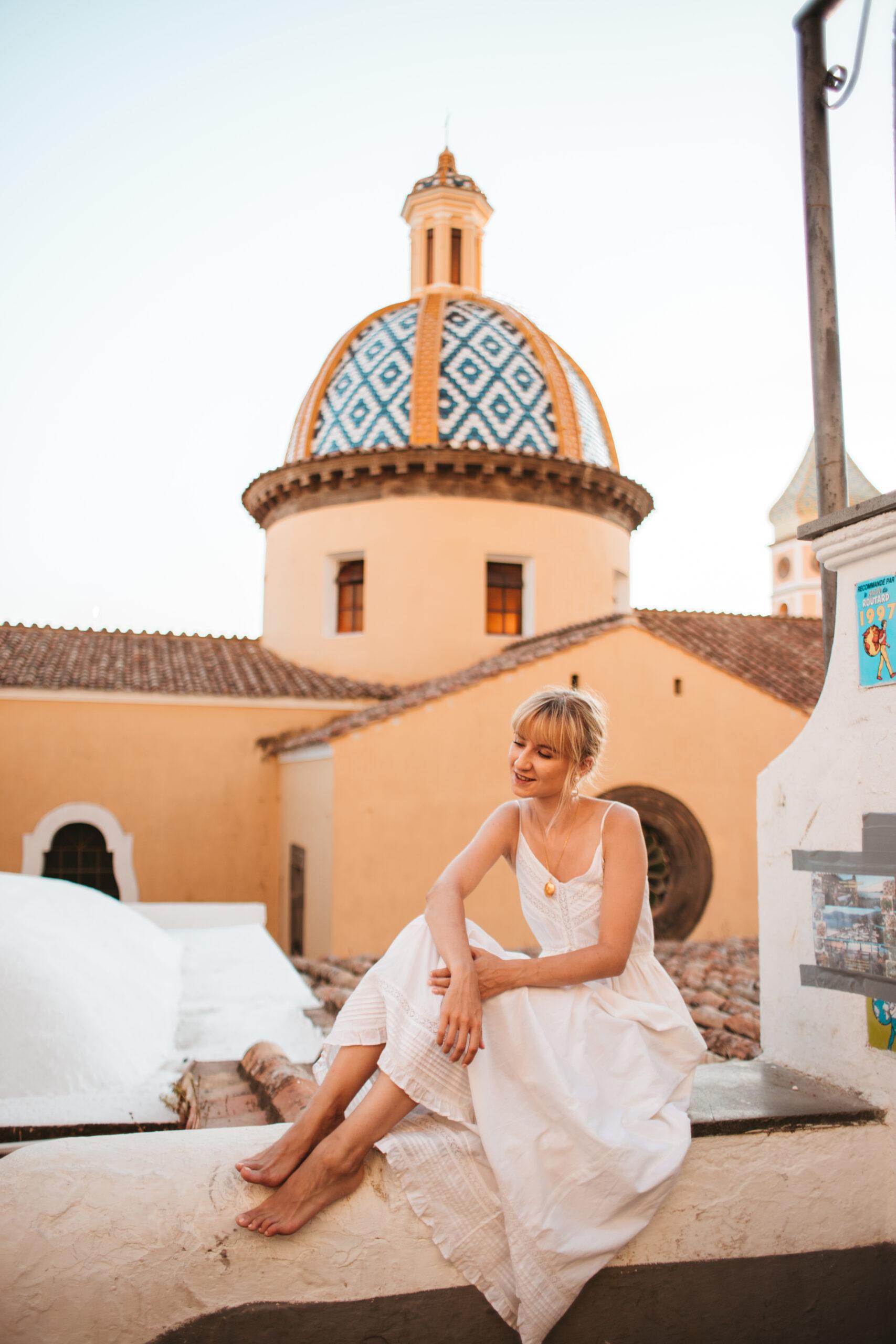 praiano amalfi coast, positano, girl in white dress, summer in Italy, Italy vacations