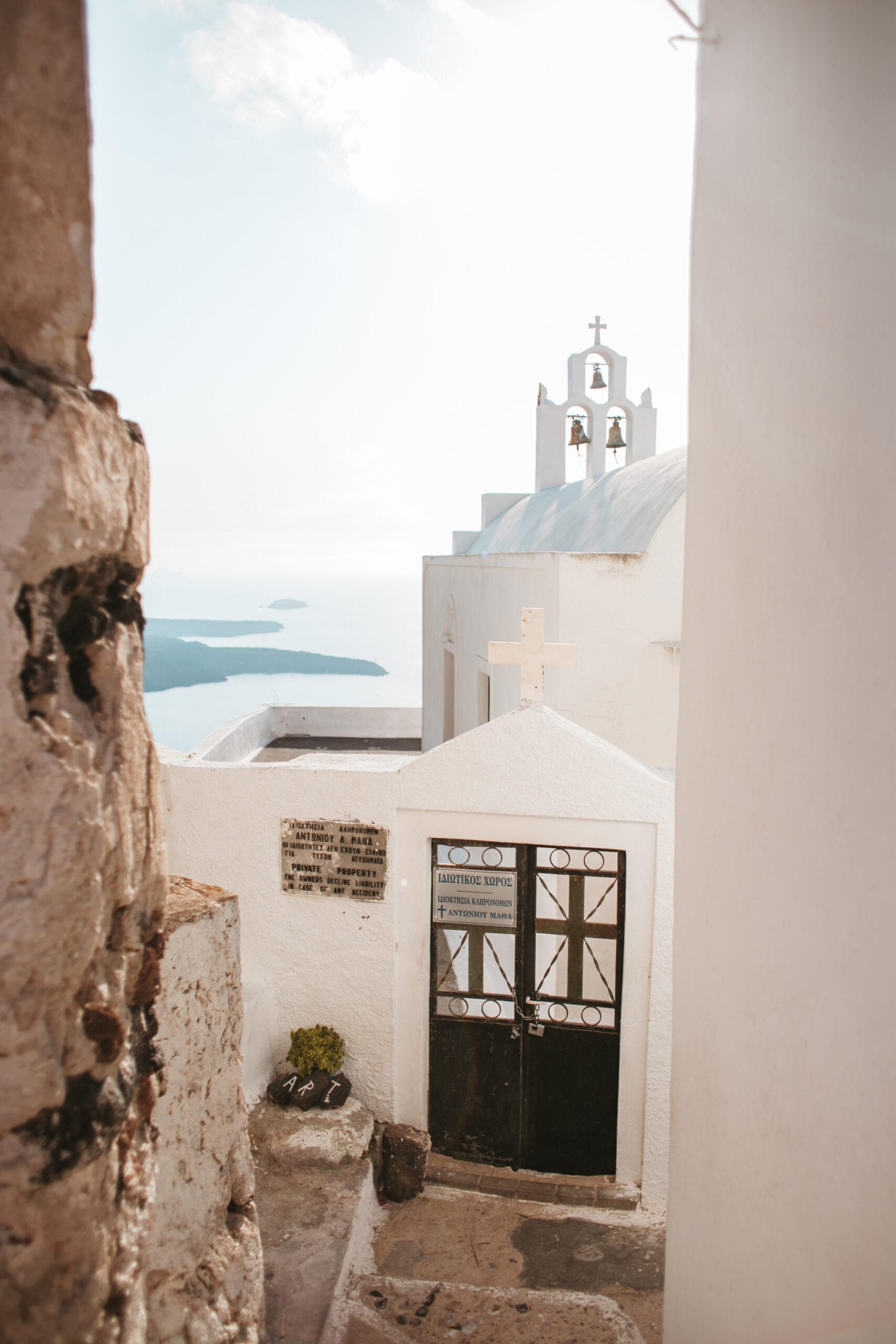 Santorini blog podrozniczy, church, dzwonnica, kościół, schody, uliczki Santorini, Imerovigli