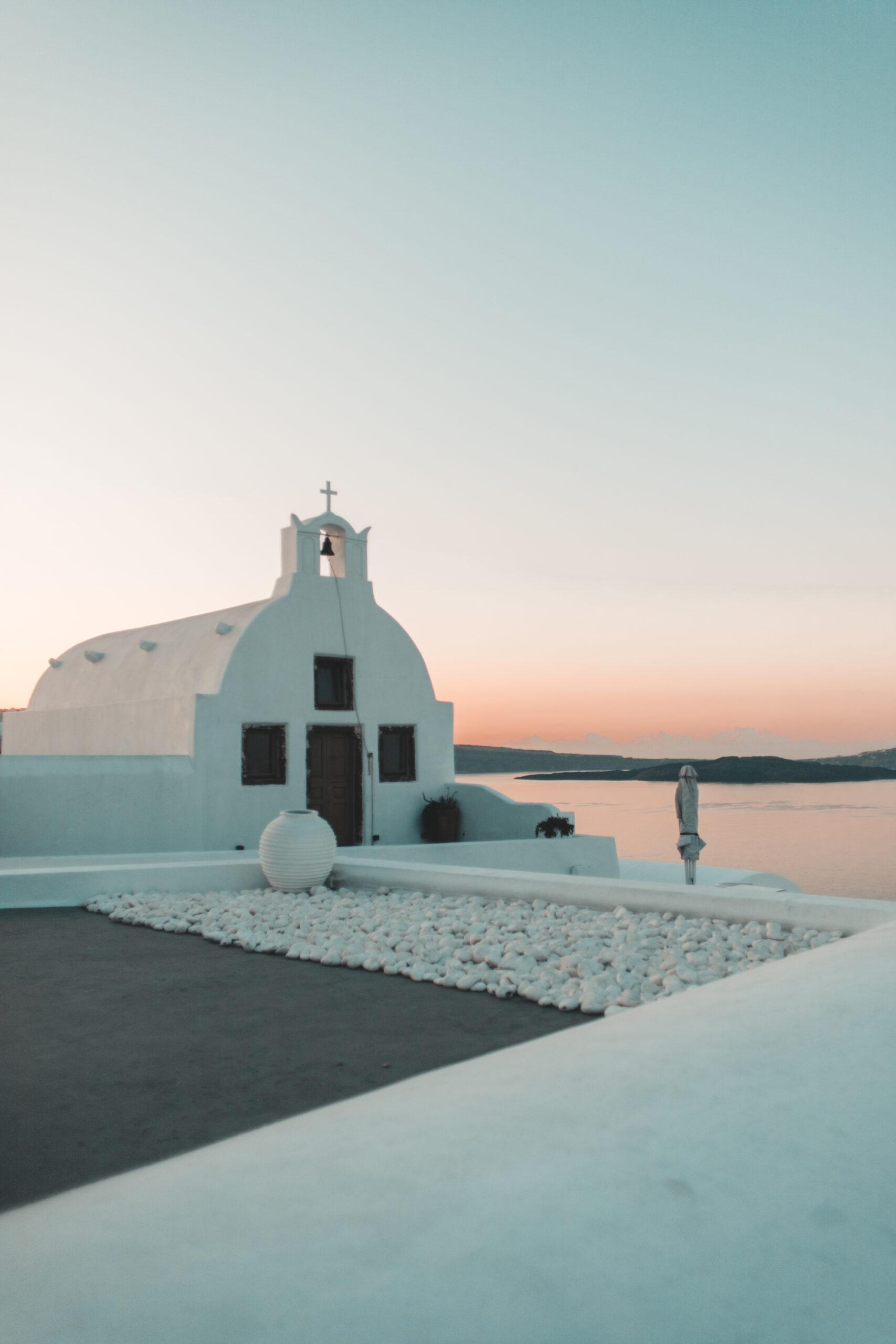 Sunrise Oia, wschód słońca Oia, zachód słońca Oia, Santorini, dzwonnica, cerkiew, church
