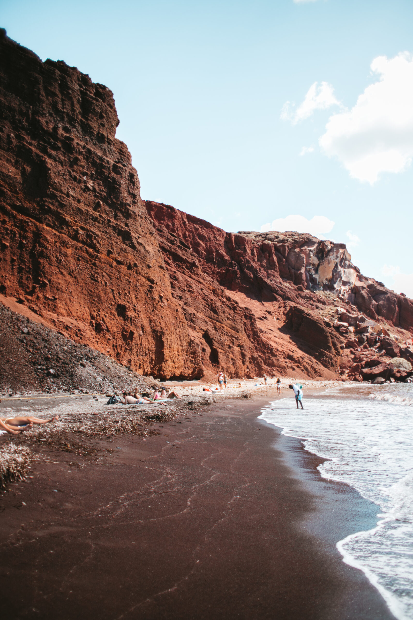 Red beach Santorini, czerwona plaża Santorini, klif