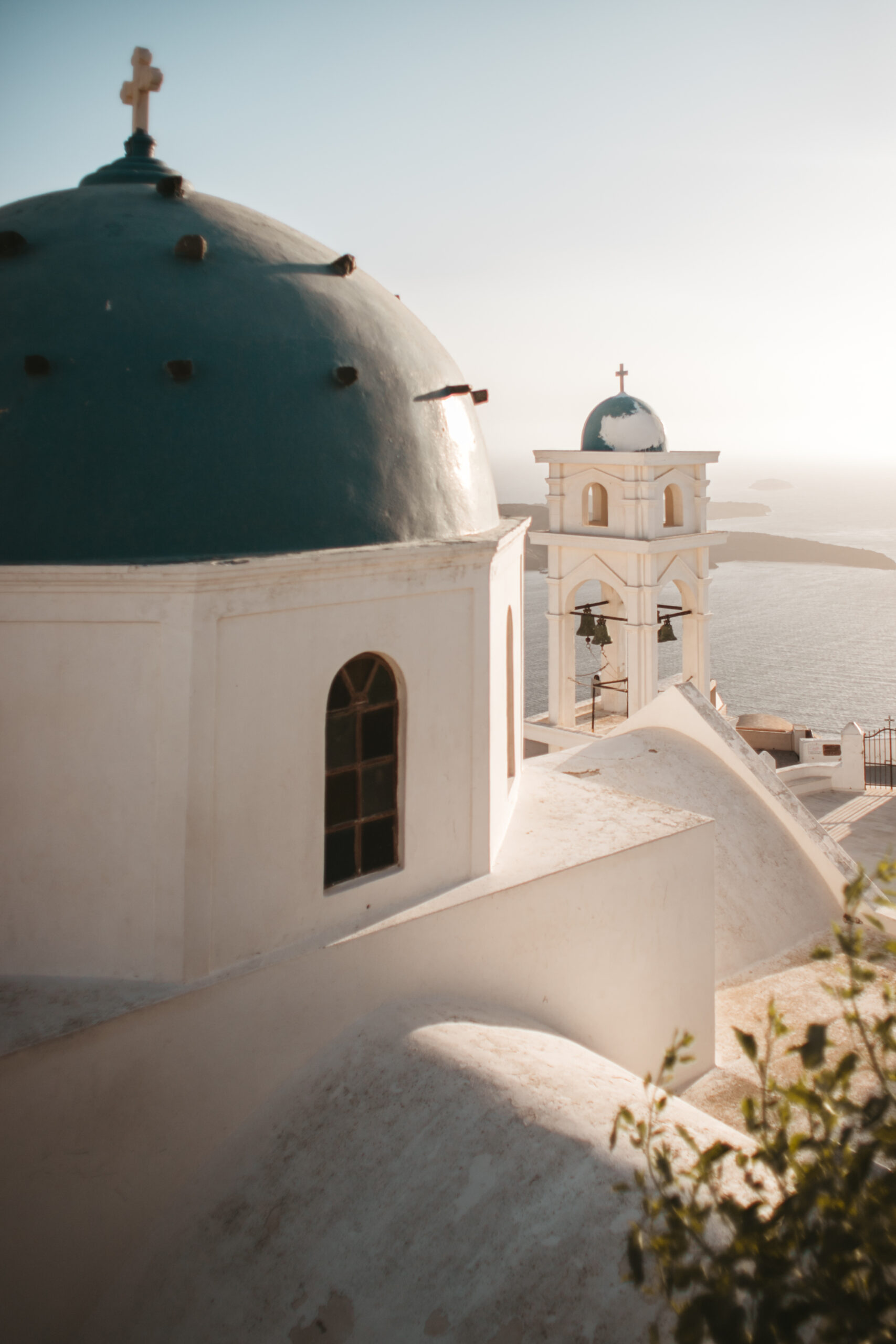 Imerovigli, Anastasis Church, blue dome church, Santorini, Oia, Grecja, sunset, zachód słońca