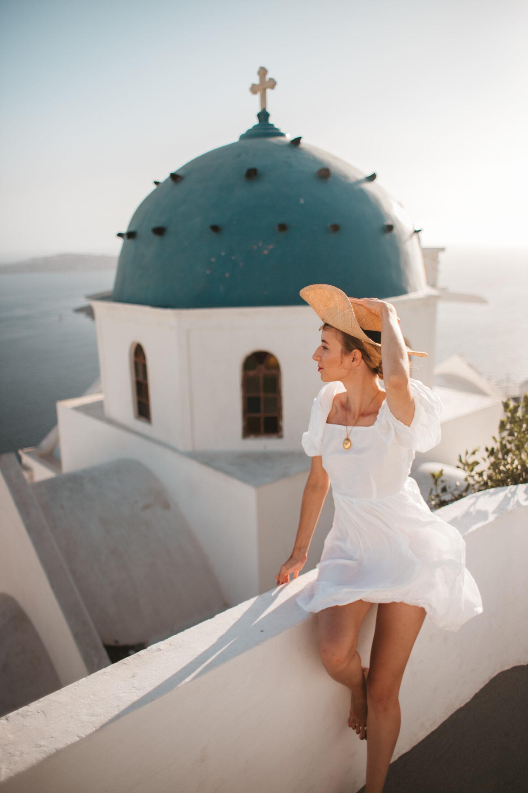 Santorini widok, Imerovigli blue dome, Anastasis Church, blogerka podroznicza, blog podrozniczy